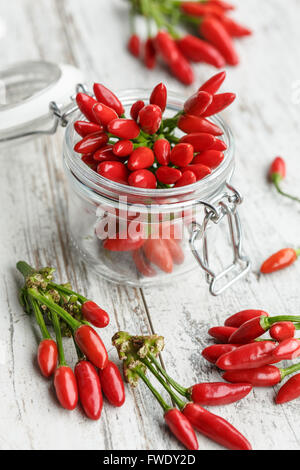 Red hot chili peppers in a glass jar - Stock Photo