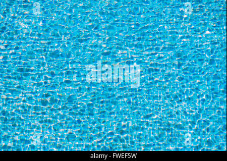 An abstract closeup of the movement of the blue water in a swimming pool - Stock Photo