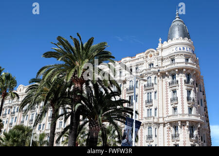 Corner view of the facade and dome of the famous Carlton International Hotel situated on the croisette boulevard - Stock Photo