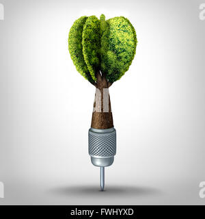 Environmental goal and green marketing success as a 3D illustration dart with a tree growing shaped as a target - Stock Photo