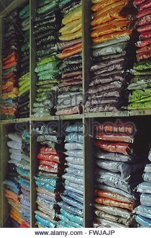 Full Frame Shot Of Colorful Fabrics For Sale - Stock Photo