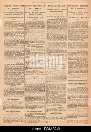 1916 Daily Graphic page 7 Heavy fighting in East Africa, French army at Verdun, and British coal shortage - Stock Photo