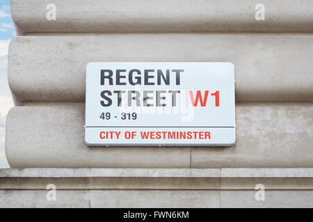 Regent street sign on wall in London - Stock Photo