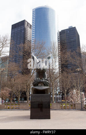 American eagle statue,Battery Park, East coast second world war naval memorial, Lower Manhattan, New York City,America. - Stock Photo