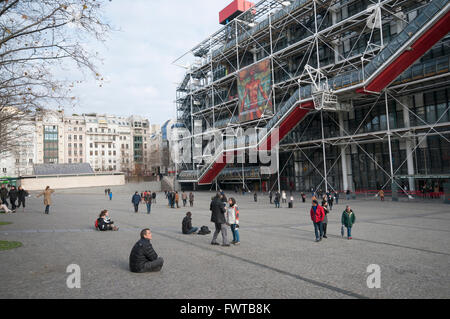People enjoying a Sunday afternoon outside Centre Georges Pompidou, in Paris France - Stock Photo