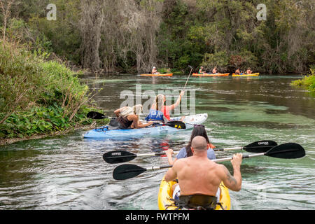 People Kayaking On The Weeki Wachee River Springs State Park Florida Rental Kayaks From Paddling Adventures - Stock Photo