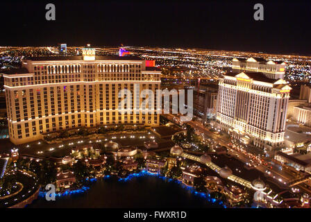 Bellagio Hotel and Casino view from Eiffel Tower on Las Vegas Strip, famous for its rooms for stay, Casino and huge - Stock Photo