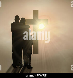 Composite image of happy family embracing each other over - Stock Photo