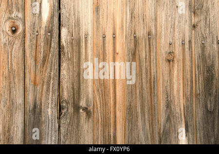 Vertical old wooden planks with nails background. - Stockfoto
