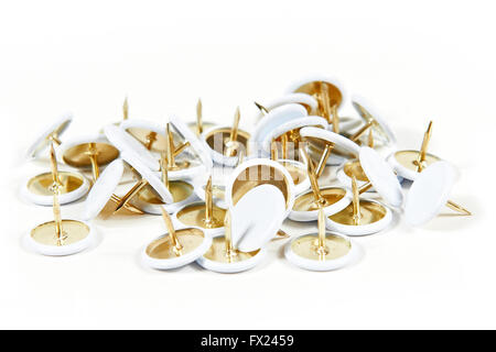 Closeup image of drawing pins on a white background - Stock Photo