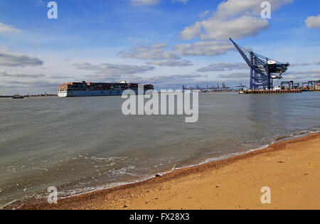 Cosco shipping line container ship arriving at Port of Felixstowe, Suffolk, England, UK - Stock Photo