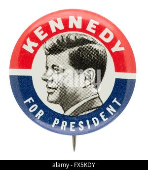 1960 John F. Kennedy for President Campaign Button - Stockfoto