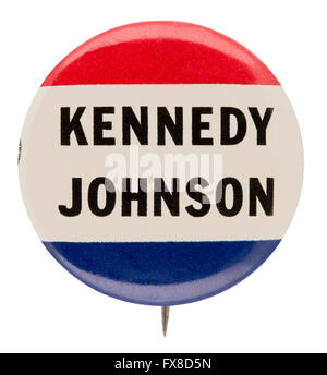 1960 Presidential Campaign Button for Democrats John F. Kennedy and Lyndon B. Johnson - Stockfoto