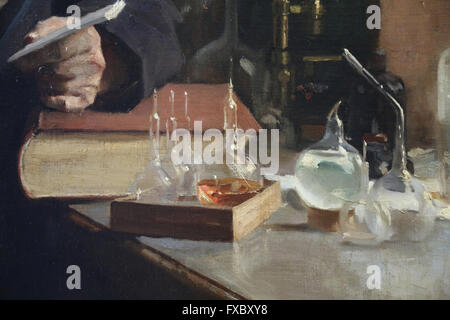 Louis Pasteur. Portrait, 1885 by painter Albert Edelfelt (1854-1905). Oil on canvas. Detail: Laboratory material. - Stockfoto