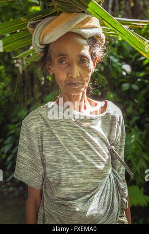 Ubud, Indonesia - February 28, 2016: Portrait of senior Balinese woman carrying leafs on the head, Ubud, Bali, Indonesia. - Stock Photo