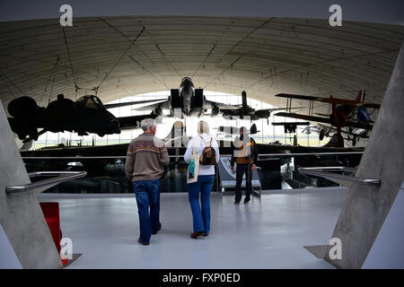 Visitors & Aircraft at Imperial War Museum, Duxford, UK - Stock Photo