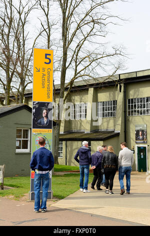 Visitors at Imperial War Museum, Duxford, UK - Stock Photo