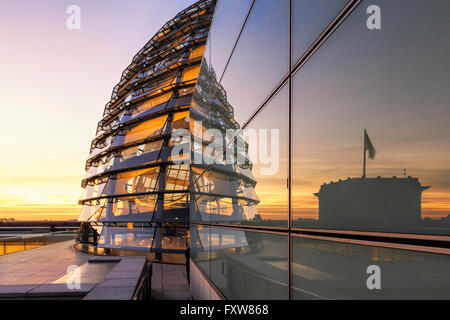 Reichstag buidling roof terasse cupola by Sir Norman forster at twilight Berlin Germany Europe - Stock Photo