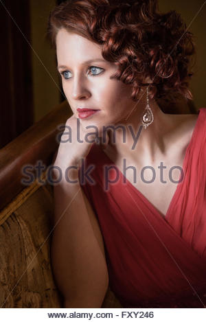 Close up of Woman in vintage 1940s dress - Stock Photo