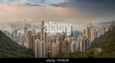 View over Hong Kong from Victoria Peak, The skyline of Central sits below The Peak at dusk, Victoria Peak, Hong - Stock Photo