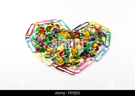 Full heart made with office material - Stockfoto