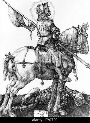 An illustration of St George on horseback, having slayed the dragon. Artist, Albrecht Dürer, 1508 - Stock Photo