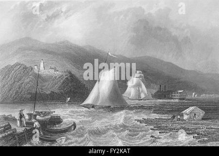 Light House near Caldwell's Landing (Hudson River), New York. WH BARTLETT, 1840 - Stock Photo