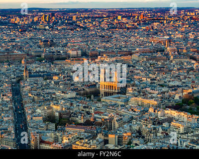 Aerial view of the Church of Saint-Sulpice, Paris, France. - Stock Photo