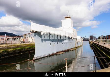 HMS Caroline, a WWI frigate, and last survivor of the Battle of Jutland, undergoes multi-million pound restoration. - Stock Photo