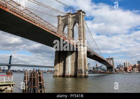 New York City, New York, USA. April 8, 2016. View from Manhattan near under Brooklyn Bridge , USA seen in New York - Stock Photo