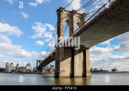 New York City, New York, USA. April 8, 2016. View from Manhattan under Brooklyn Bridge, USA seen in New York on - Stock Photo