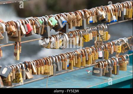 Love Locks on the river Wye bridge in Bakewell, Derbyshire, UK - Stock Photo
