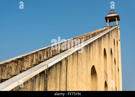 Giant sundial, Samrat Yantra, at Jantar Mantar Observatory, Jaipur, Rajasthan, India - Stock Photo