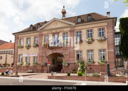 Town Hall Hotel de Ville, Riquewihr, Alsace, France - Stock Photo