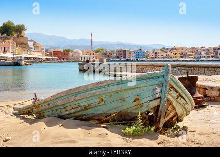 Abandoned  boat  in harbour of Chania. Crete, Greece - Stock Photo