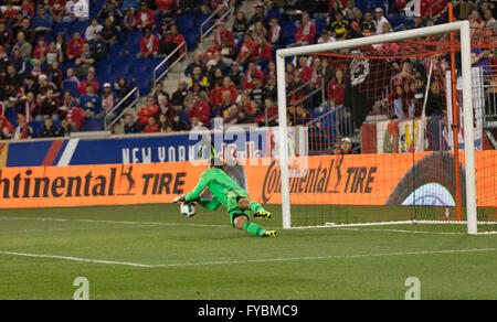 Harrison, United States. 24th Apr, 2016. Orlando City SC goalkeeper Joe Bendik saves ball on the Red Bulls arena - Stock Photo