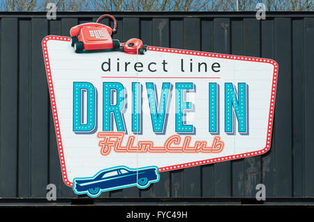 Drive-in Film Club sign at Alexandra Palace, London Borough of Haringey, Greater London, England, United Kingdom - Stock Photo