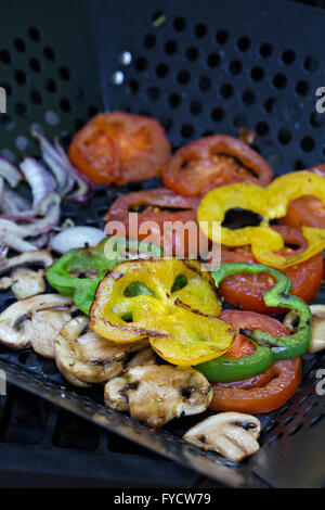 Grilled vegetables on a grill pan - Stock Photo
