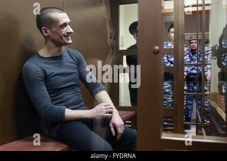 Moscow, Russia. 26th Apr, 2016. Artist Pyotr (Petr) Pavlensky attends a hearing of St Petersburg's Magistrates Court - Stock Photo