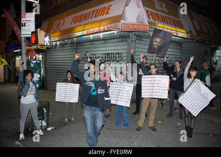 New York, USA. 25th April 2016. Anti-police brutality activists group NYC Shut It Down marched through streets in - Stock Photo