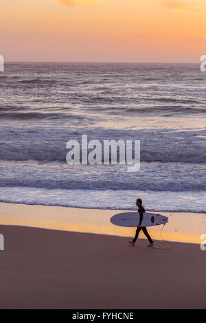 Male surfer walking at sunset on the sandy beach, carrying his board, Furadouro Beach, Portugal. - Stock Photo