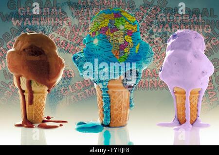 Globe, Ice Cream Concept - Stock Photo