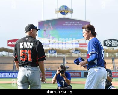 Los Angeles, California, USA. 25th Apr, 2016. Ichiro Suzuki (Marlins), Kenta Maeda (Dodgers) MLB : Ichiro Suzuki - Stock Photo