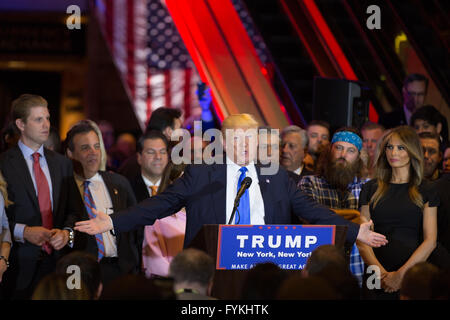 New York City, USA. 26th April, 2016. Donald Trump gives victory speech at Trump Towers after his clean sweep on - Stock Photo