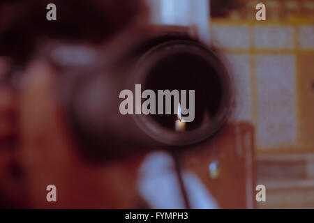 Camera Lens, Candle Flame, Concept - Stock Photo