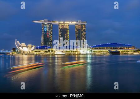 Marina Bay, Merlion, Marina Bay Sands Hotel, Singapore, Singapur, Southeast Asia, - Stock Photo