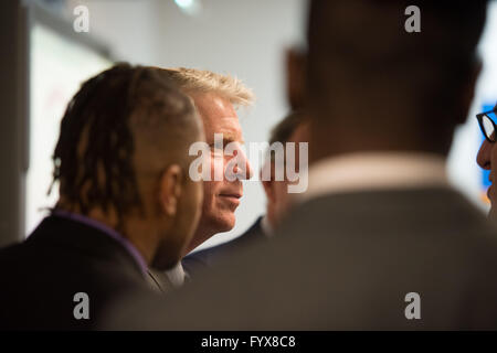 New York, NY, USA. 28th Apr, 2016. Manhattan District Attorney CYRUS VANCE, JR. visits the 14th Annual CUNY/Daily - Stock Photo