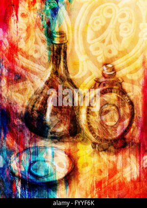 Drawing flask and wine carafe on paper. Original hand draw and Color effect. - Stockfoto