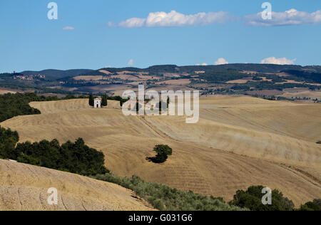 Lonely chapel in Valley Orcia - Stock Photo