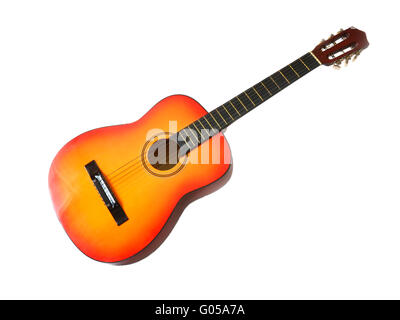 Classical acoustic guitar, isolated on white background - Stockfoto